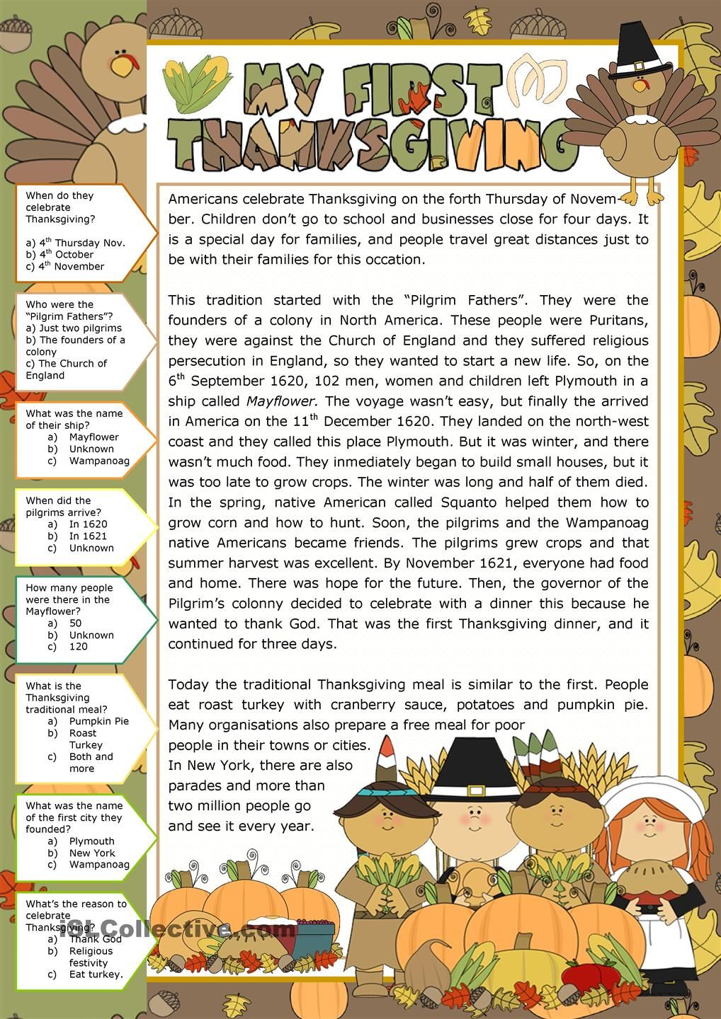 Thanksgiving - Reading Comprehension  THANKSGIVING  Pinterest  worksheets, education, printable worksheets, math worksheets, and grade worksheets Reading Comprehension Esl Worksheets 1440 x 1018
