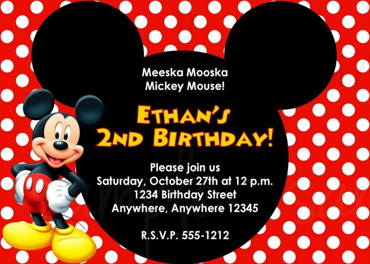 Free Printable Mickey Mouse Invitations Birthday Party Ideas for