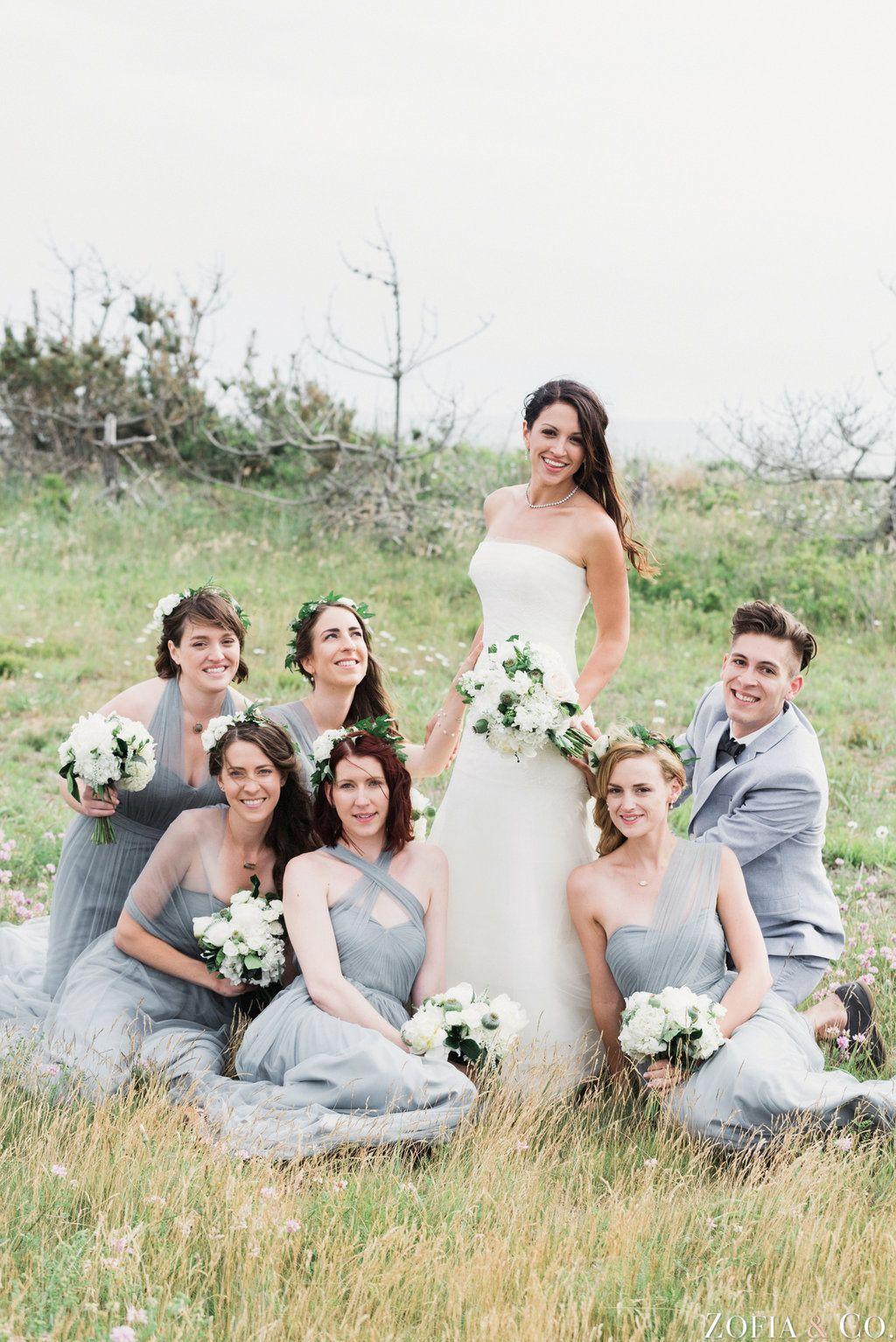 Green and white wedding dress  Grey Bridal Party  Green u White Wedding  Nantucket Wedding