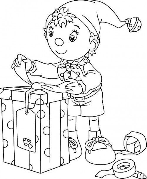 Christmas Elves Who Got The Big Box Coloring Page Christmas