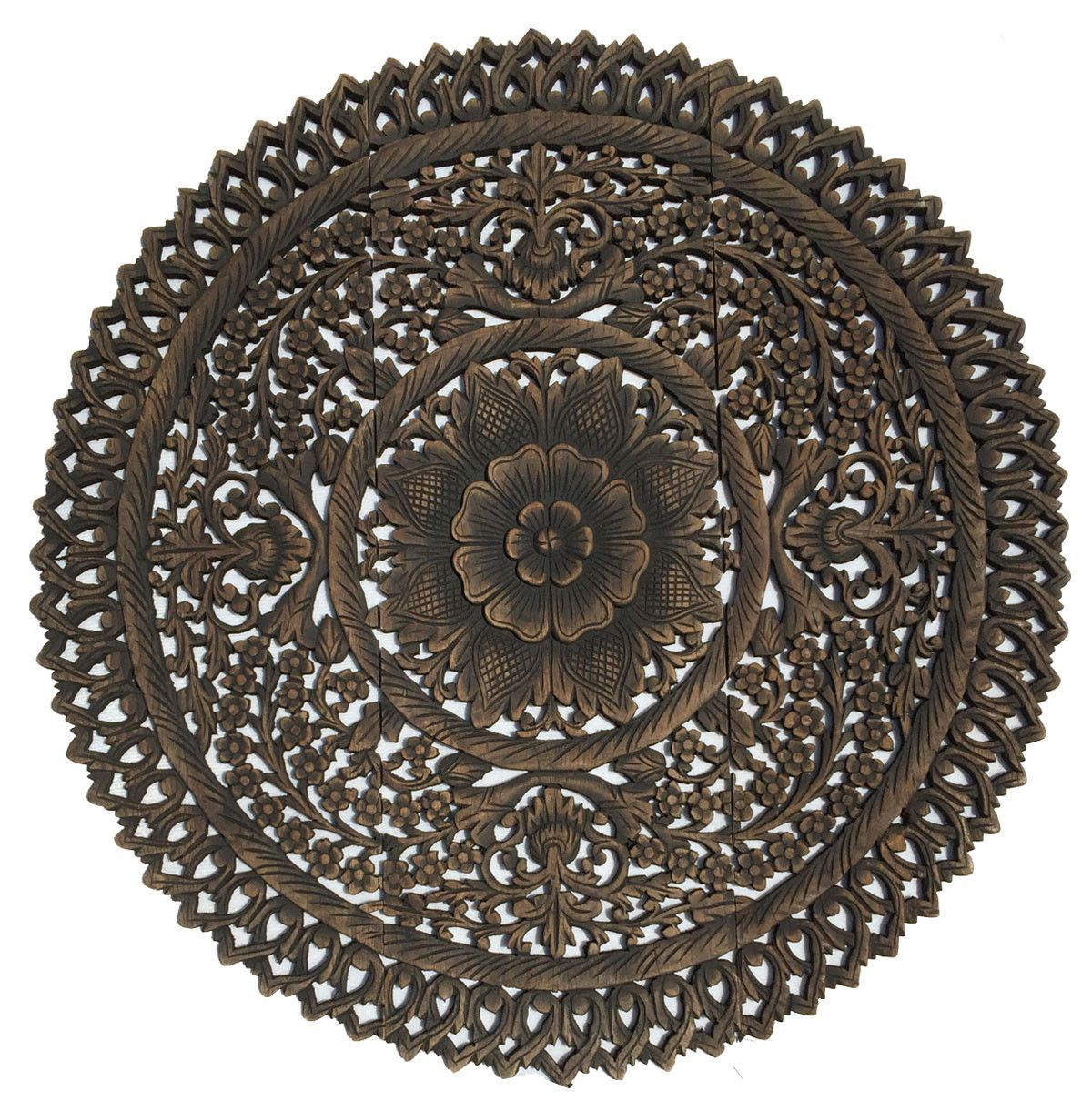 Elegant Medallion Wood Carved Wall Plaque Round Wood Carved Floral Wall Art Asian Wood Carvi With Images Carved Wood Wall Decor Wood Wall Decor Carved Wall Art