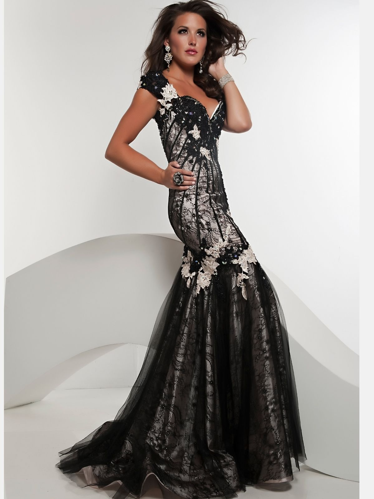 Sport this glamorous black Jasz Couture prom dress with it\'s ...