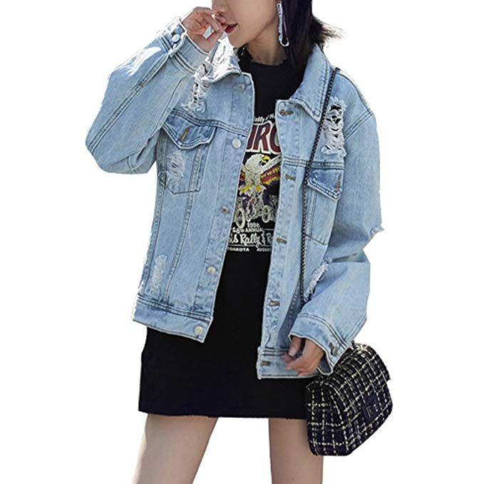 09452860a2a17 JudyBridal Oversized Denim Jacket Women   Distressed Denim Jackets Women    Boyfriend Jeans Jacket Women   Latest Denim Fashion Trends   Fall Fashion  This ...