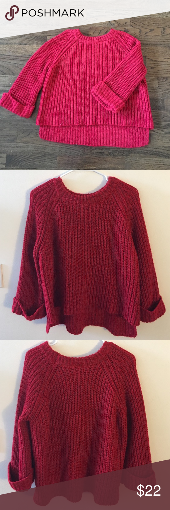 Oversized Red Sweater🎄❤ | Red sweaters, Roll sleeves and Scoop ...