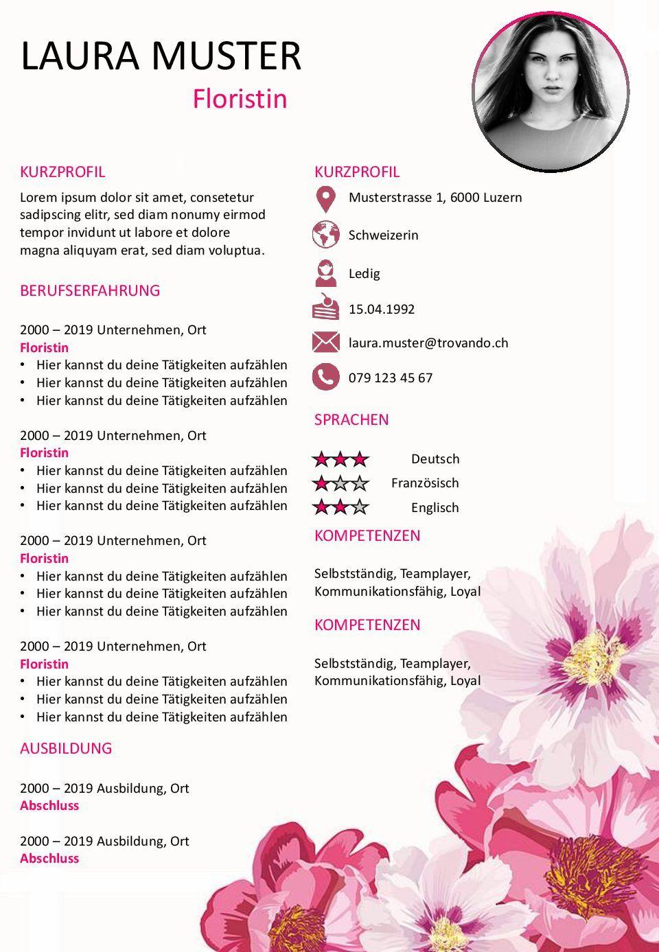 Die Floristin Powerpoint Lebenslauf Vorlage Lebenslauf Power Point Lebenslaufvorlage