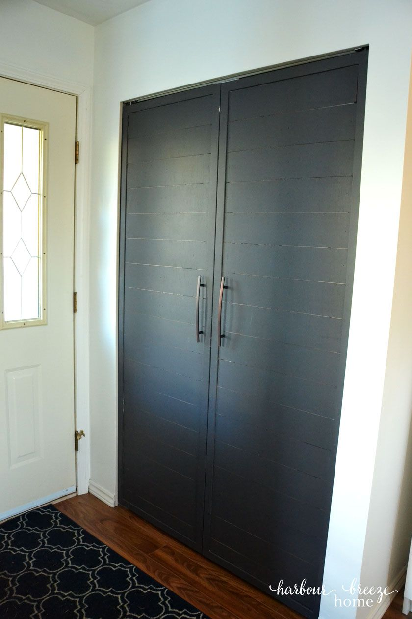 How To Convert Bi Fold Closet Doors Into Modern Farmhouse French Doors Diy Closet Doors Bifold Doors Makeover Bifold Closet Doors