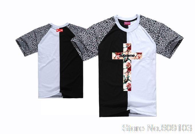 69cf925b8cc3 men's Supreme Floral cross tee shirts new design flower logo printed hip  hop t-shirt boys sports tshirts fashion street wear $18.99