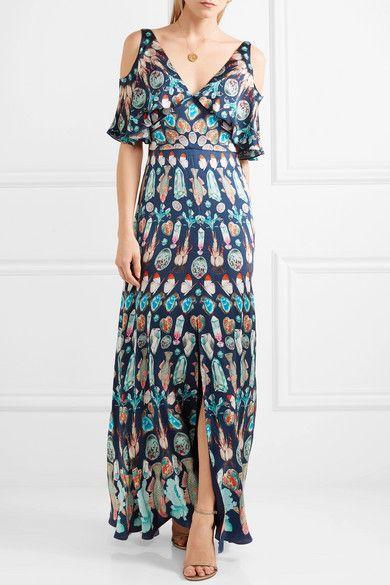 Quartz Cold-shoulder Printed Silk Crepe De Chine Gown - Blue Temperley London Fx7sT3vg