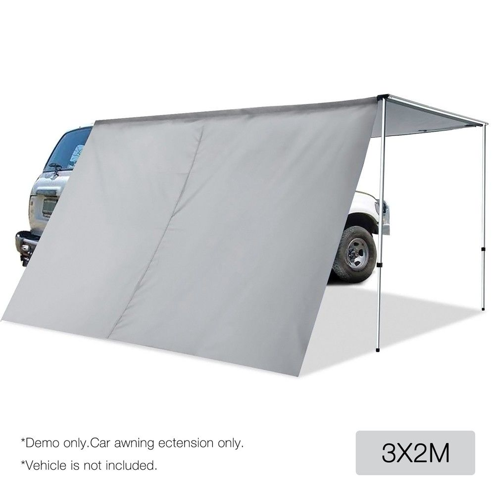 2x3m Side Awning Extension For Car Vehicle Roof Camper Trailer 4wd 4x4 Camping Metallic Grey