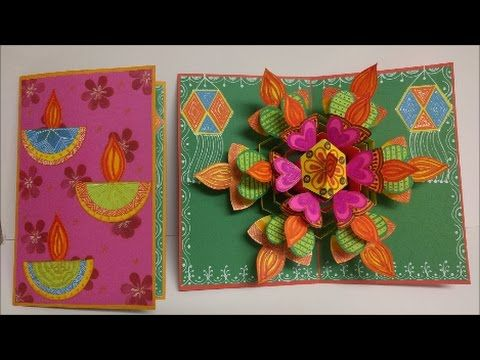 Art And Craft How To Make Pop Up Diwali Greeting Card Pop Up Card Diwali Greeting Cards Handmade Diwali Greeting Cards Diwali Greeting Card Making