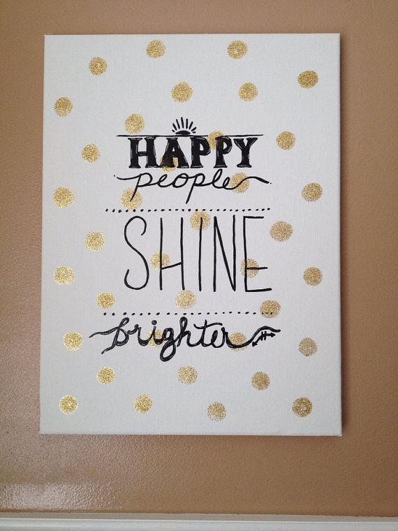 Handpainted Canvas  Gold/Polka Dot by WestsideDriveDesigns on Etsy