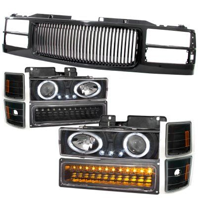 Chevy Tahoe 1995 1999 Black Grill And Halo Projector Headlights Led Bumper Lights Chevy Tahoe Chevy Projector Headlights