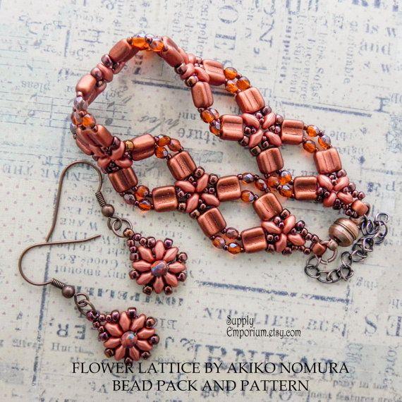 Bead Kit for Flower Lattice Bracelet by Akiko Nomura - Bronze Fire Red