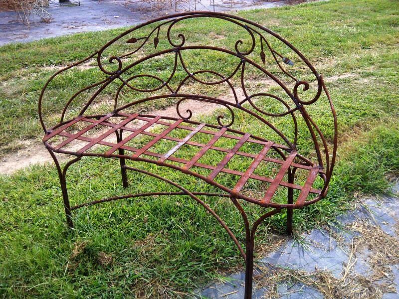 Wrought Iron Curl Bench With Leaves Rustic Metal Seating