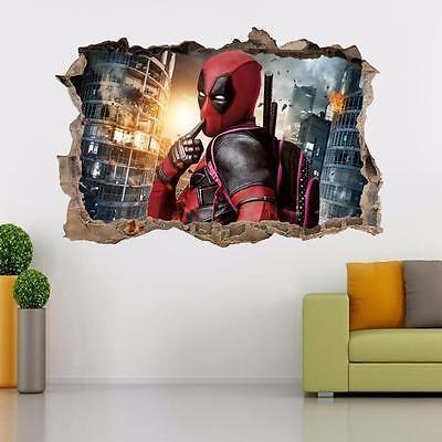 Deadpool Smashed Wall 3d Decal Wall Sticker Wandtattoos Art Mural