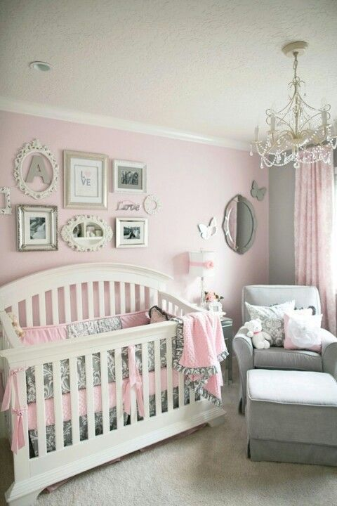 Pink And Gray Baby Girls Nursery Light Aqua Accent Wall Color For