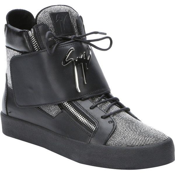 63eb8aa11e55 Giuseppe Zanotti Black Micro-Studded Leather  may London  High-Top ...