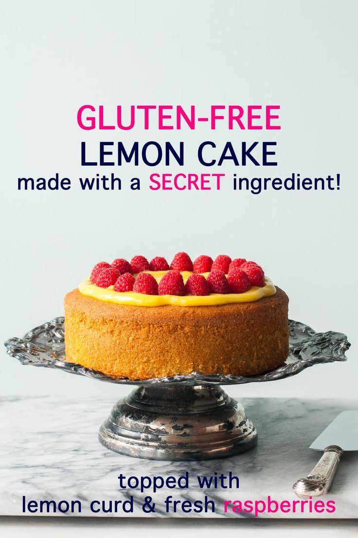 Easy gluten-free lemon cake w/ lemon curd+fresh raspberries Easy gluten-free lemon cake topped with