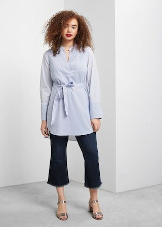 Striped cotton blouse - Shirts  Plus sizes | Violeta by MANGO United Kingdom