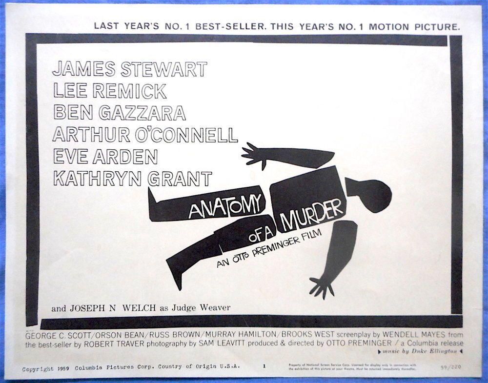 ANATOMY OF A MURDER James Stewart Saul Bass Art Duke Ellington Set ...
