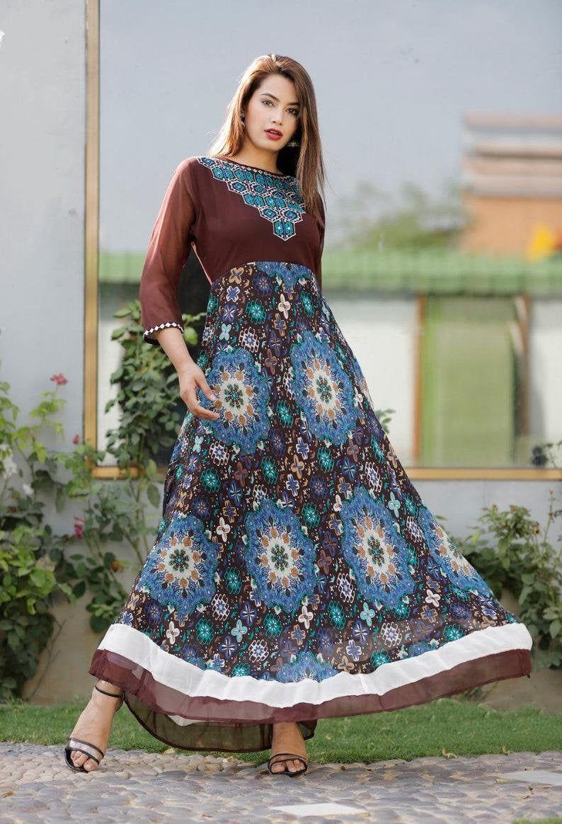 Women Ethnic Top Bollywood Dress tunic designer Embroidery a line dress Boho Kurta Indian Kurti Bohemian Indian Kurti Kurta