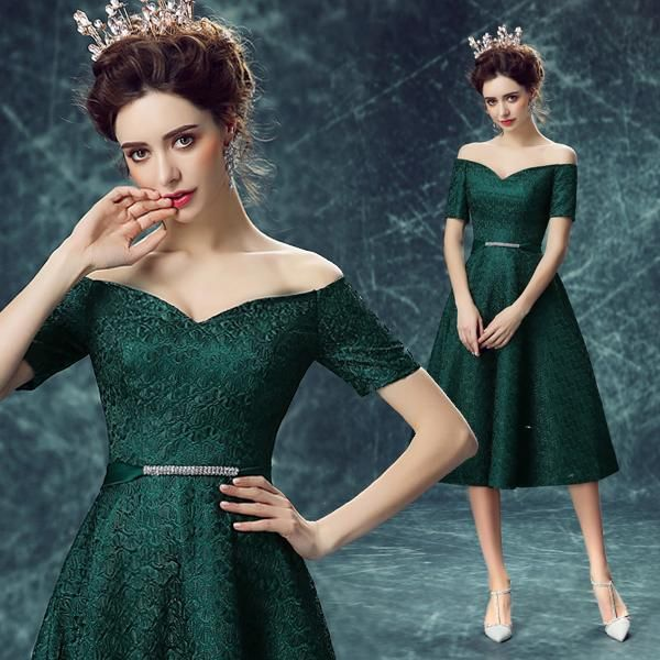 Green Colored Cocktail Dress