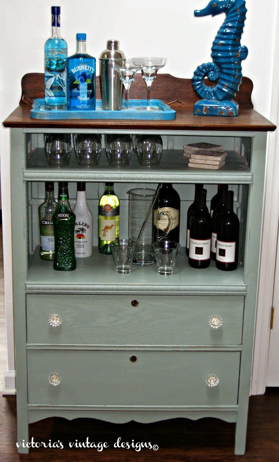 Victoria S Vintage Designs Beach House Bar Cabinet Shared At