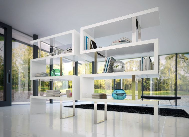 Modern Contemporary Room Divider For Book Collection Storage And Display  Cabinet Using Square Stainless Steel Based Support Placed On White Cermaic  Tiled ...