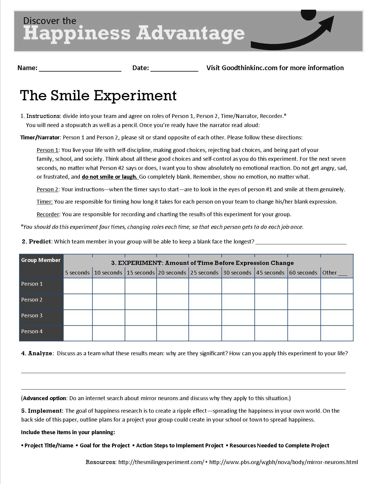 this is goodthink 39 s smile experiment worksheet that turns our smile test into a classroom or. Black Bedroom Furniture Sets. Home Design Ideas
