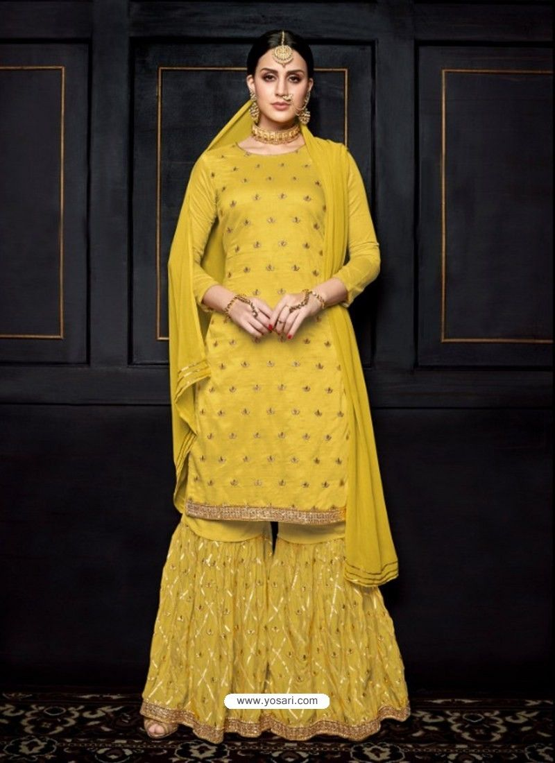 8157f5e62 Yellow Pure viscose Uppada Silk Heavy Embroidered Palazzo Suit in ...
