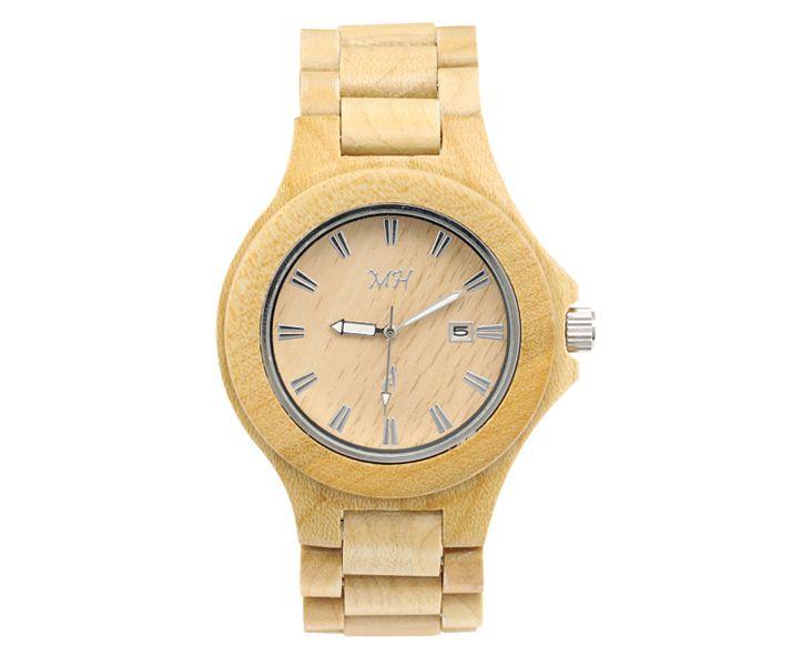 100$ Makani Hawaii Maple Wood Round Case Watch