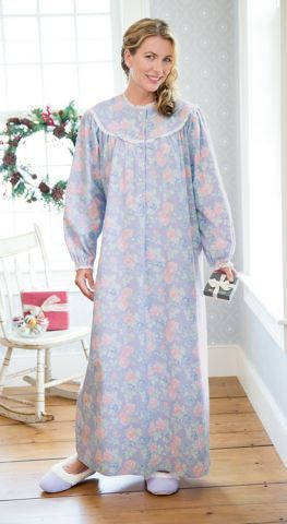 cotton flannel nightgown in a floral print features the quality and comfort of lanz of salzburg - Flannel Nightgowns