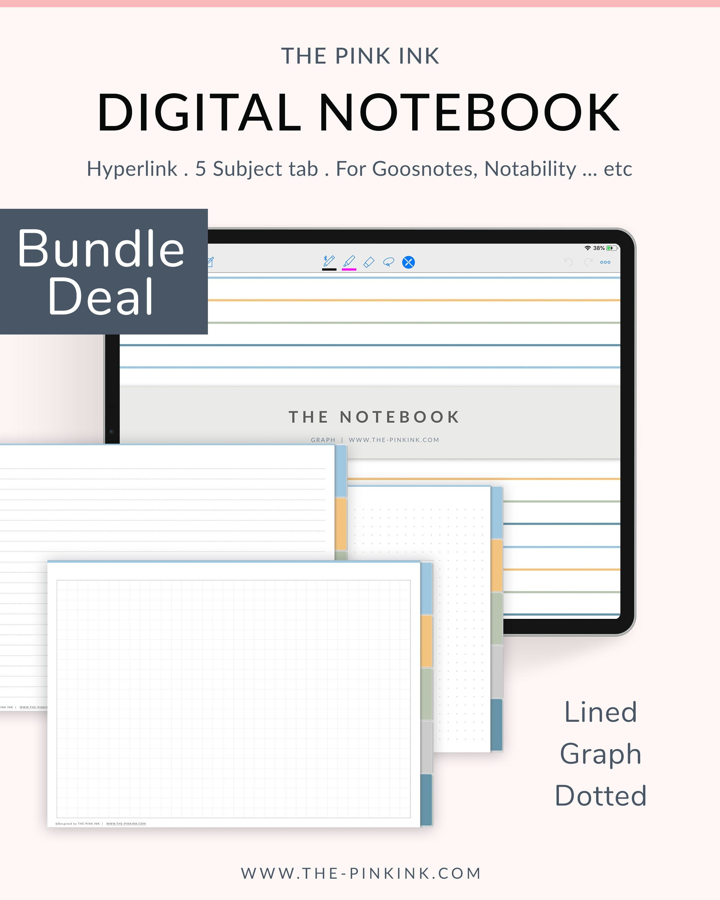 Student organizer Digital Notebook for Goodnotes 5 subject