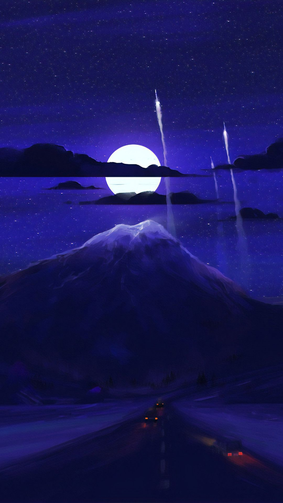 Dark Moon Night Minimal Art Mobile Wallpaper (iPhone