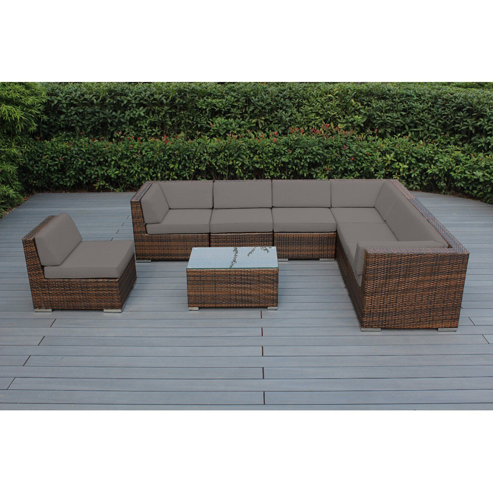 Outdoor Ohana All Weather Wicker 8 Piece Sectional Patio