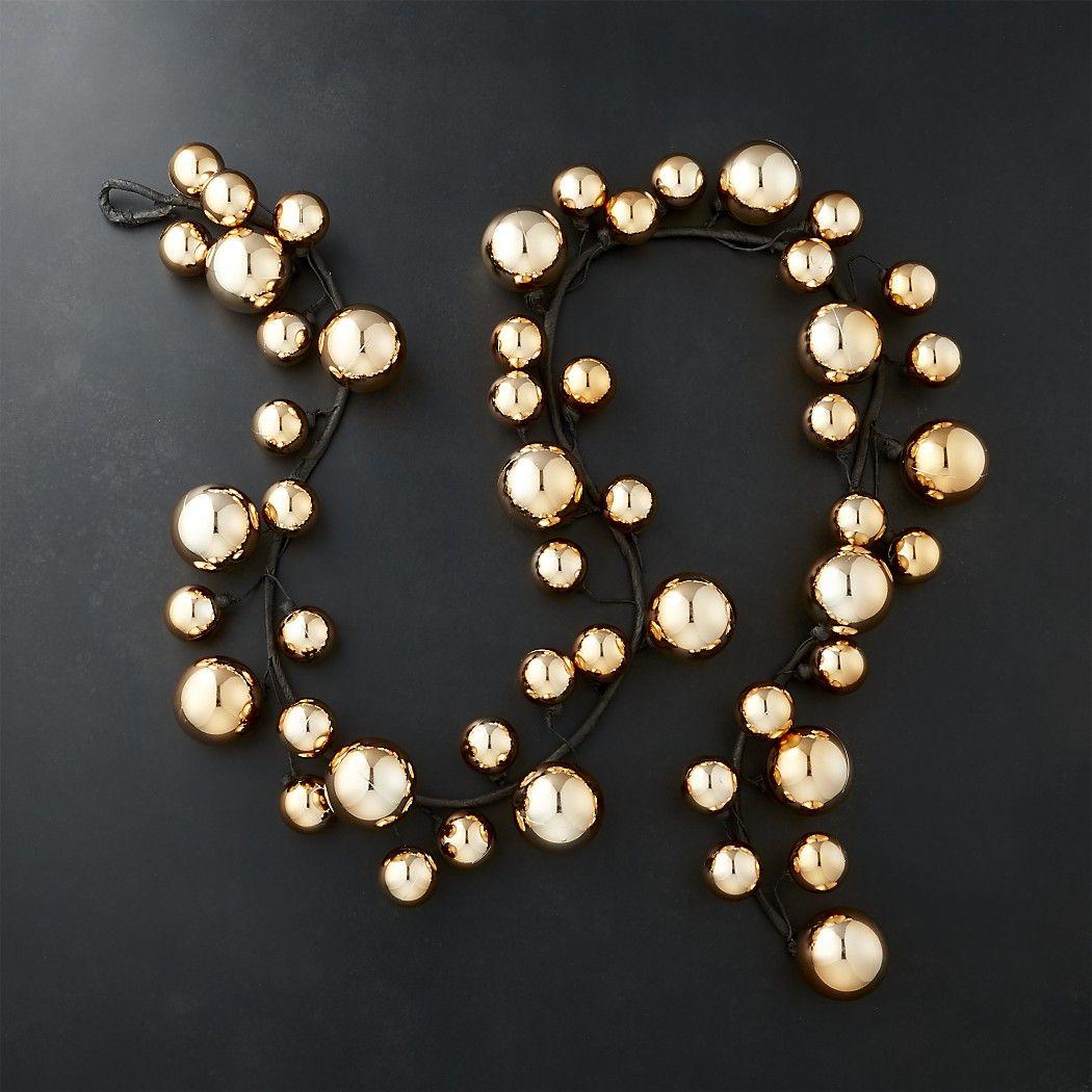 GoldBallGarland6ftSHF17 Gold christmas ornaments