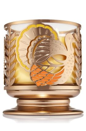 Turkey Pedestal - 3-Wick Candle Sleeve - Bath & Body Works - Gather around the table with this Thanksgiving accent! A beautiful gold finish with colorful enamel details and openwork metal make this pedestal the perfect pair for your favorite 3-Wick Candle.
