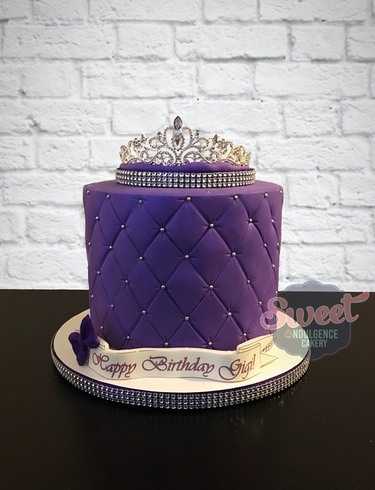 Purple Quilted Cake With A Tiara On Top Purple Cakes Birthday 18th Birthday Cake Designs Pink Birthday Cakes