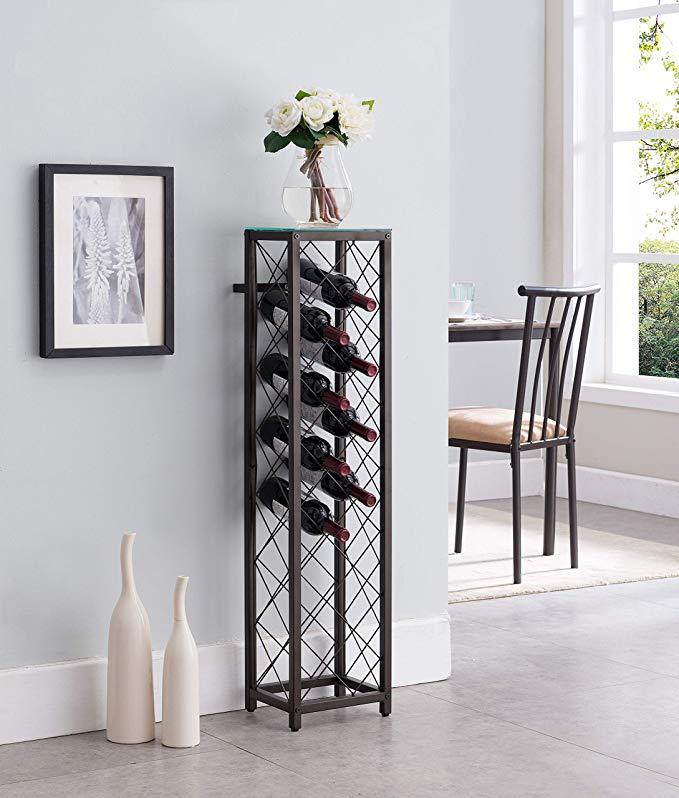 Amazon Com Kings Brand Furniture Metal With Glass Top Shelf Free Standing Wine Rack Storage Tow Free Standing Wine Rack Standing Wine Rack Wine Rack Storage Metal wine racks free standing