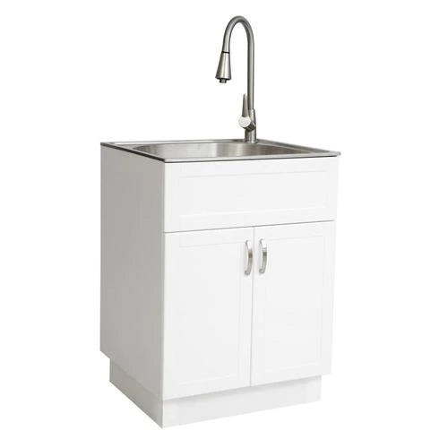 Transform 21 34 In X 24 17 In 1 Basin White Freestanding Stainless Steel Laundry Sink With And Faucet Lowes Com In 2020 Laundry Sink Basin White Utility Sink