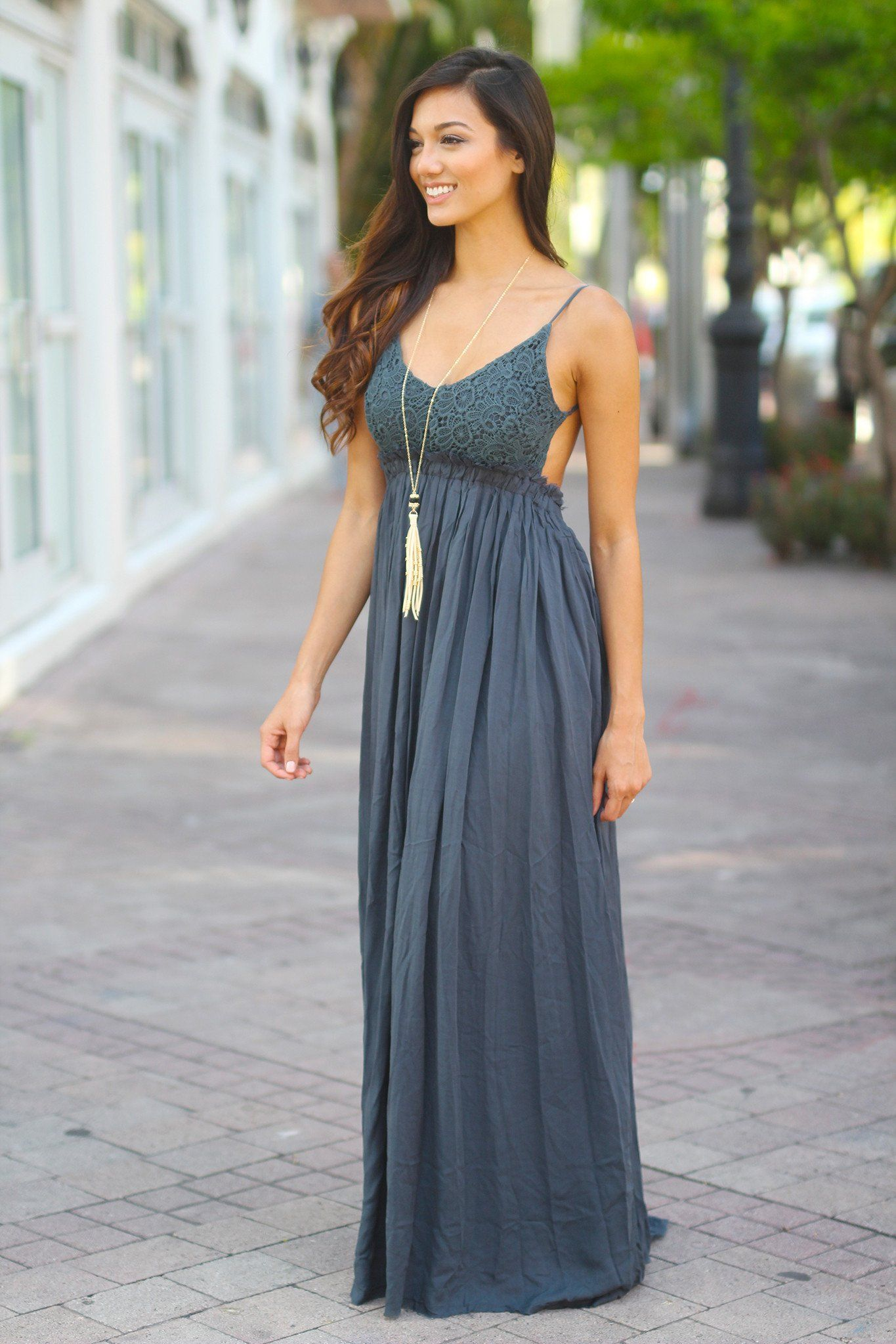 Midnight Navy Lace Maxi Dress With Open Back and Frayed