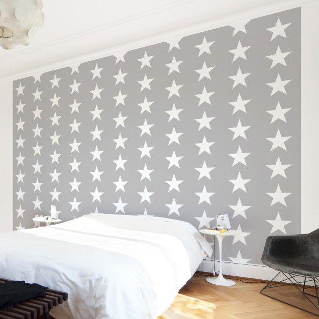 Mustertapete für Kinderzimmer Weiße Sterne auf grauen