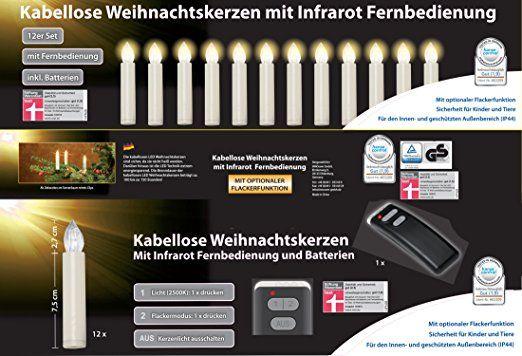 Kabellose Weihnachtsbeleuchtung Innen.12er Set Led Weihnachtskerzen Elfenbein Creme Inkl Batterien Und