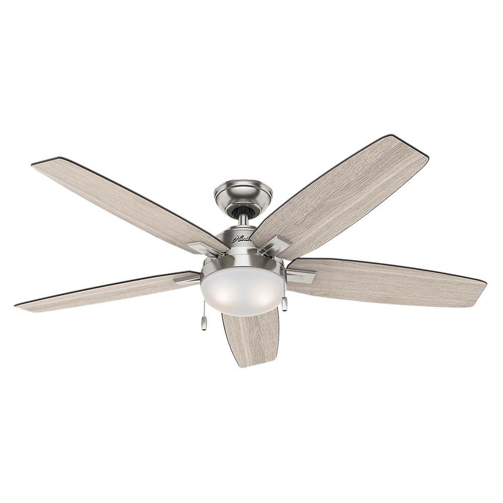 Hunter Antero 54 In Led Indoor Brushed Nickel Ceiling Fan With Light 59183 The Home Depot Brushed Nickel Ceiling Fan Ceiling Fan With Light Ceiling Fan Cheap ceiling fans for sale