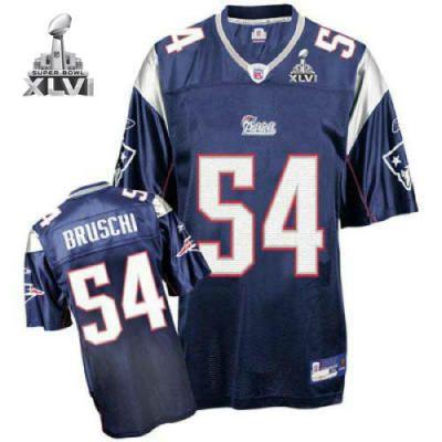 89a3a0e07 New England Patriots 54 Tedy Bruschi Blue 2012 Super Bowl Jersey ...