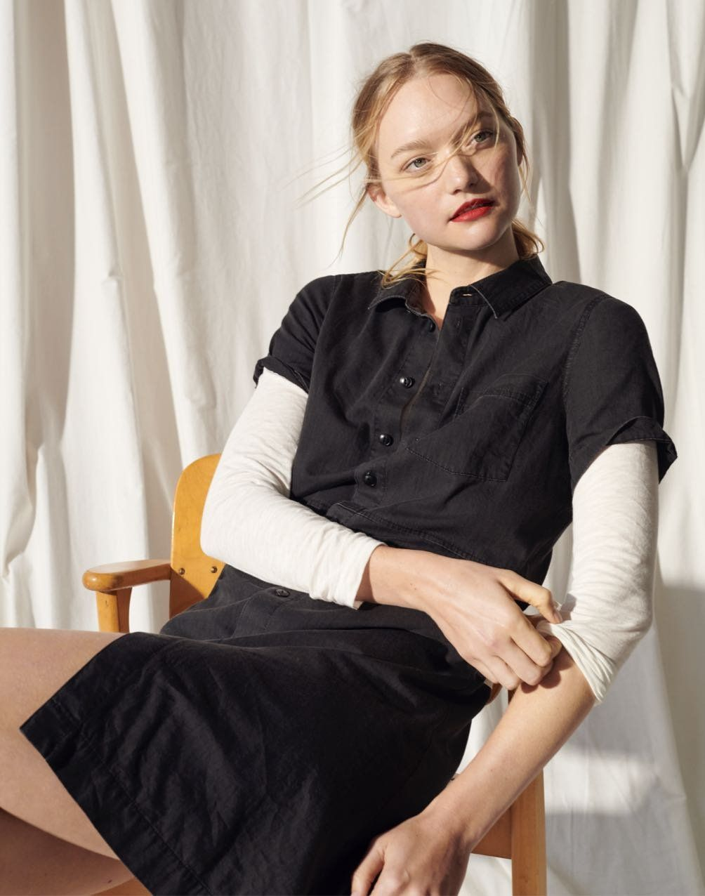 Denim Waisted Shirtdress In Lunar Wash Classic Shirt Dress Dress Clothes For Women Denim Women [ 1276 x 1004 Pixel ]
