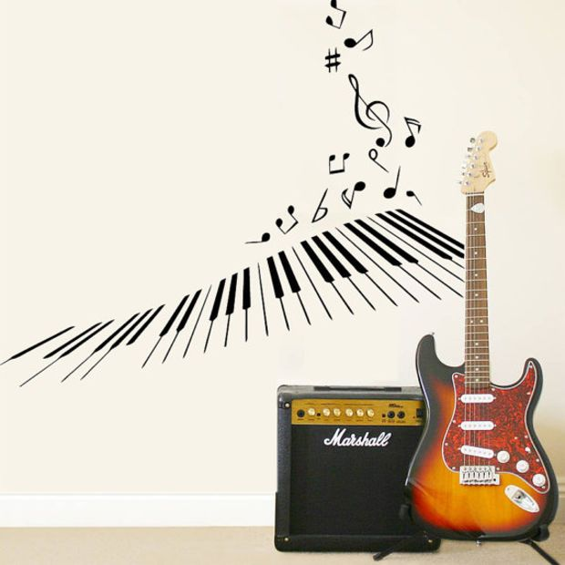 Wall Decal Vinyl Sticker Decals Art Decor Design Piano Keys Notes - Custom vinyl decals for guitars