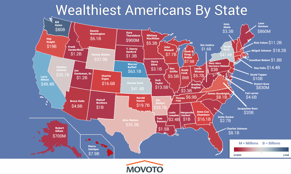 My State Map.Here Is A Map Of This Richest Person In Each State For 2018