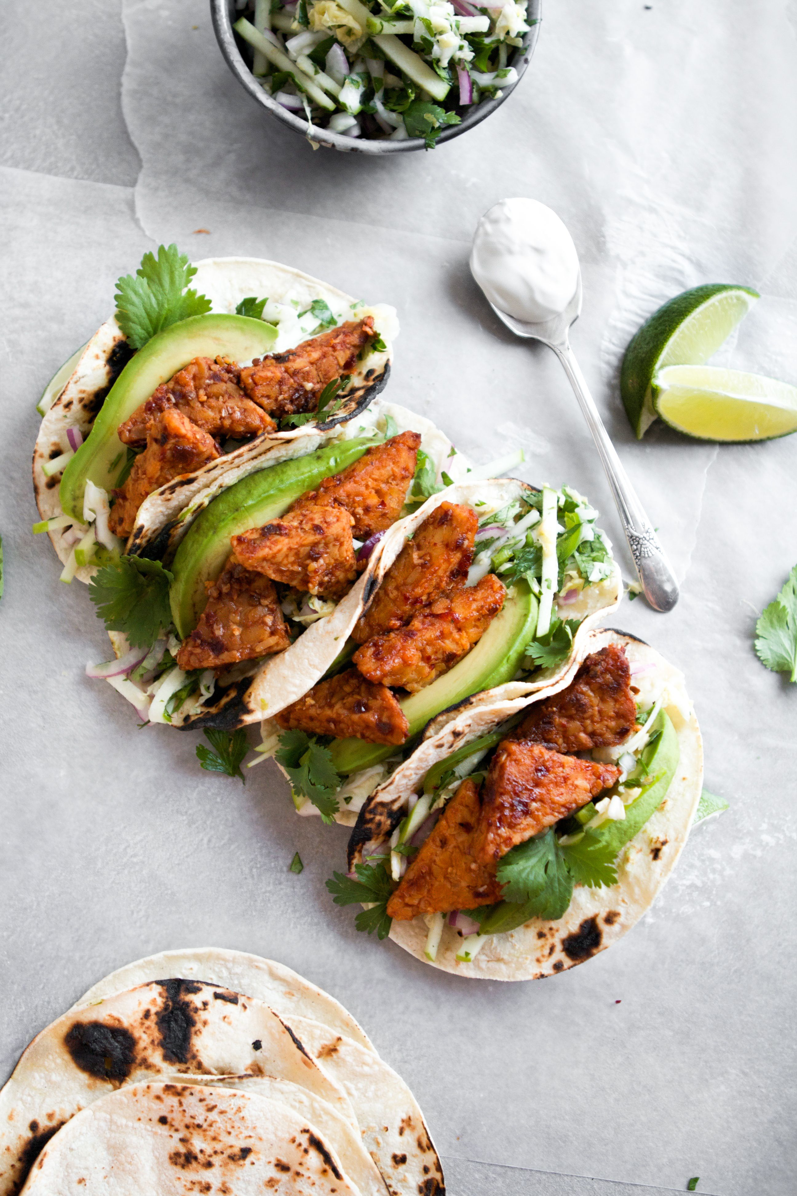 Spicy Chipotle Tempeh Tacos With Green Apple Slaw