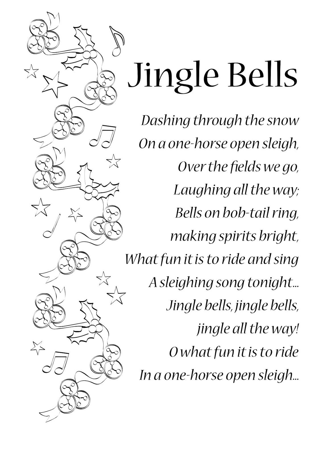 lyrics to jingle bells | ENGLISH SONGS AND RHYMES: LYRICS | Songs ...